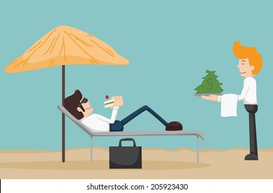 Business man relaxing on the beach , eps10 vector format