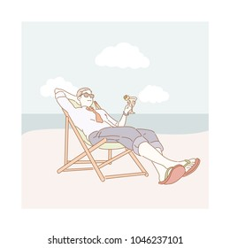 business man resting at beach on the beach chair.  hand drawn style vector doodle design illustrations.