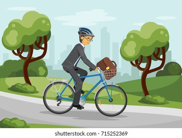 Business man riding bike in helmet in the city park. Business man with bag. Bicycle with basket. Vector illustration.