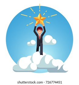 Business man rise above sky clouds and catch bug sparkling gold star in his hands. Success and best goal achievement metaphor. Flat style vector illustration isolated on white background.