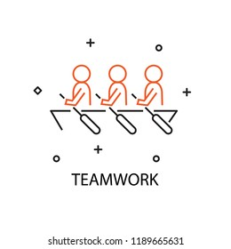 Business man row the boat. Creative Idea Concept of Teamwork and Human resource . Moden Flat thin line icon designed vector illustration.Editable Stroke.