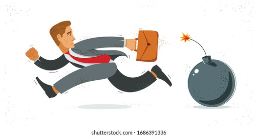 Business man run from a bomb symbolizes problems such as debt crisis or taxes vector illustration, funny comic cute cartoon businessman worker or employee in a rush.