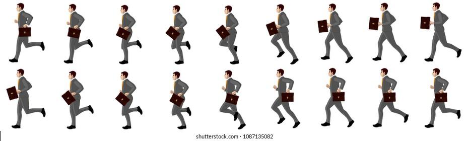 Business man running animation sprite sheet