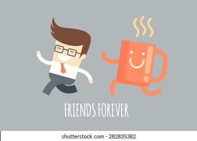 business man running with a coffee mug, monday motivation concept