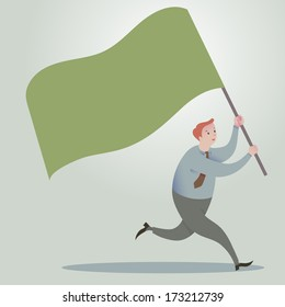 Business man running forward with waving flags.