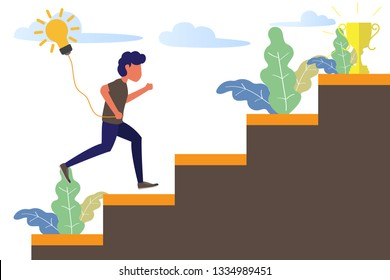 business man running on stair to success trophy and holding idea bulb. modern flat design vector illustration.