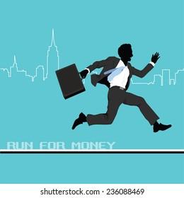 A business man runs to success.