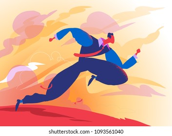 A Business Man Runs Toward a Bright Fture