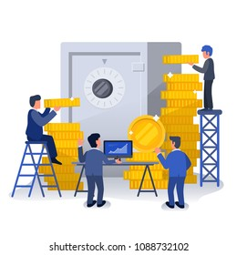 Business Man with Safety Box and Gold Coins, Business Strategic Meeting, Wealthy Company, Success Company, Money management Illustration