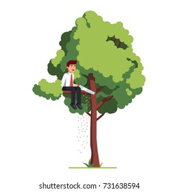 Business man sawing off the tree branch he is sitting on out of sheer stupidity. Flat style vector illustration isolated on white background.