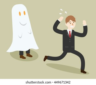 business man see a ghost. prankster people. funny worker in office. cartoon vector illustration
