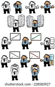 Business Man Series: Funny cartoon illustration of a young business man in various poses. COLOR and BW
