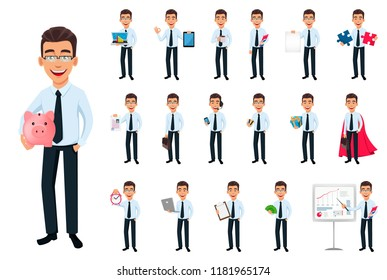 Business man, set of eighteen poses. Cartoon character with different things. Young handsome smiling businessman in office style clothes - stock vector