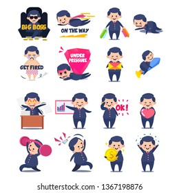 Business man set sticker character . vector draw, work, work hard, promoted, big boss, under pressure, OK, love job, on the way