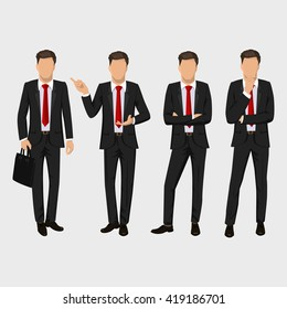 Business man set. Vector collection of full length portraits of businessman. Elegant, handsome and serious men in black suit and red tie. Flat design illustration isolated on white background
