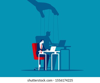 Business man and Shadow as Puppet. Concept business puppet vector illustration, Control dictator.