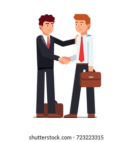Business man shaking hands looking into each other eyes. Standing handshake. Smiling people in formal suits with briefcases. Flat style vector illustration isolated on white background.