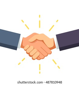 Business man shaking hands. Strong and firm handshake clap. Modern flat style vector illustration isolated on white background.