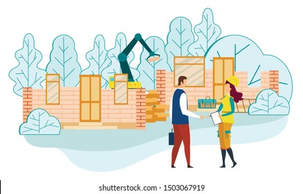Business Man Shaking Hands with Woman Foreman Holding Clipboard with Documents on Construction Site Working Process Background with Equipment and Building Technique Cartoon Flat Vector Illustration