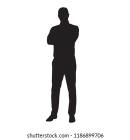 Business man in shirt standing with folded arms, isolated vector silhouette. Front view
