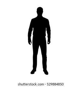 Business man in shirt, vector silhouette