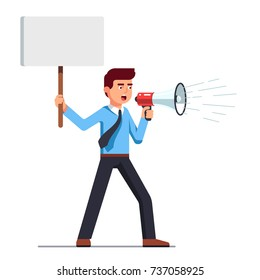Business man shouting through loud speaker and holding placard. Hailer yelling. Businessman in shirt & tie with megaphone. Flat style vector illustration isolated on white background.