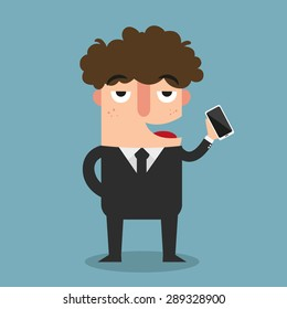 business man show his smart phone illustration, vector