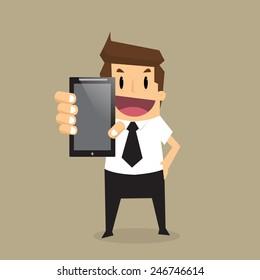 Business man show smart phone.vector
