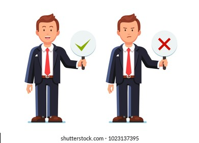 Business man showing check mark confirmation or approval and reject cross mark sign placards. Business man holding disapproval placard. Positive & negative signs. Flat vector isolated illustration.