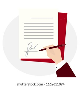 Business man sign with fake signature new document. Flat lay style vector illustration. Hand pen and text on paper application or review mortgage deed, moving checklist or notice quitclaim deed