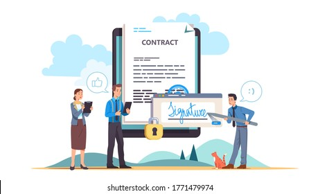 Business man signing online contract with colleagues. Tiny people putting digital signature to big electronic document on tablet screen. Safe online deal & agreement. Flat vector concept illustration