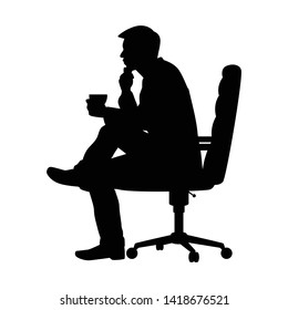 Business man sit on chair with coffee cup silhouette vector