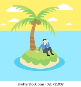 Business man sits on a desert island.