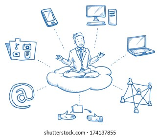 Business man sitting on cloud smiling, meditating and relaxing in meditation seat surrounded by cloud computing icons,Â?Â? hand drawn vector illustration