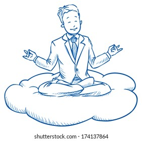Business man sitting on cloud smiling, meditating and relaxing in meditation seat ,Â?Â? cloud computing ,Â?Â? hand drawn vector illustration
