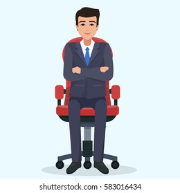 Business man sitting on office chair. Flat style vector illustration.