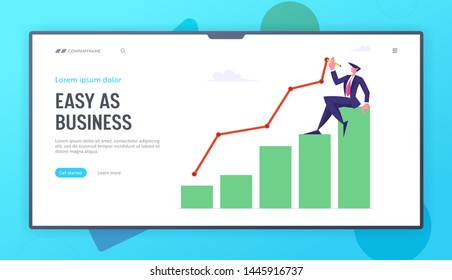 Business Man Sitting on Top of Growing Column Chart Drawing Curve Line. Businessman Work on Growth Data Analysis Arrow Graph Website Landing Page Set, Web Page. Cartoon Flat Vector Illustration Banner
