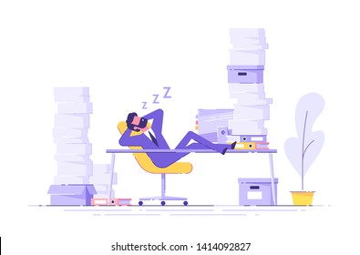 Business man is sleeping at his workplace desk during working hours with the piles of paper document around. Procrastinating and wasting time concept. Vector illustration.