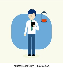 Business man with smartphone and low batery