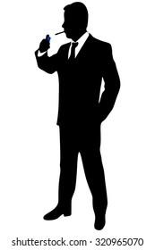 business man smoking cigarete
