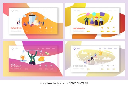 Business Man Social Investment Idea Landing Page Set. Office Character Coffee Break Time. Creative Company Team Climb for Goal Growth Website Concept for Web Page. Flat Cartoon Vector Illustration