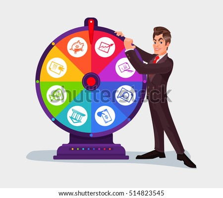 Business Man Spinning Wheel Fortune Stock Vector Royalty Free