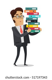 Business man with stack of folders isolated on white background. Man in expensive suit at work. Businessman carrying a lot of documents. Work in office concept. Vector illustration in flat style