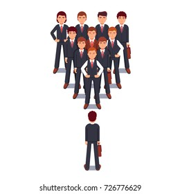 Business man standing against corporate team in wedge formation. Power and stress of leadership metaphor. Modern flat style thin line vector illustration isolated on white background.