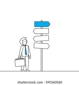 Business man standing by signs. Decision making vector illustration in linear style.