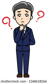 A business man is standing with confused pose. This can use for presentation, website, book, business card.