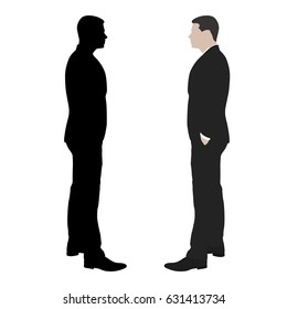 Business man standing with hands in his pockets, side view, vector silhouette and flat illustration