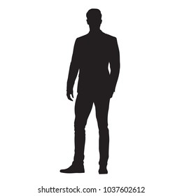 Business man standing, isolated vector silhouette