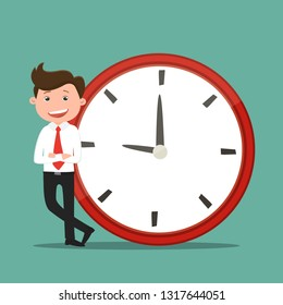Business man standing near the clock.Businessmen occupy times.Vector illustration.
