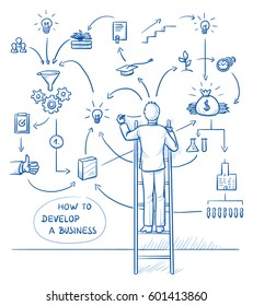 Business man standing on a ladder and sketching business process on the wall. Work flow chart of developing a company or launching product. Hand drawn line art cartoon vector illustration.